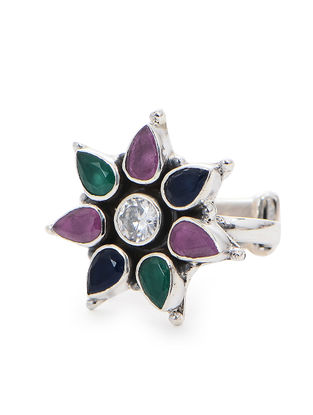 Purple-Blue Adjustable Silver Ring with Floral Design