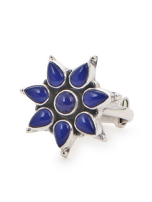Blue Adjustable Silver Ring with Floral Design