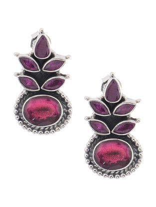 Purple-Pink Silver Earrings