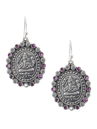 Purple Silver Earrings with Lord Ganesha Motif