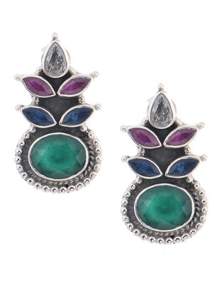 Green-Purple Silver Earrings