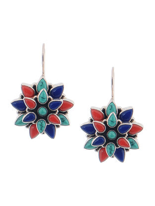 Turquoise and Coral Silver Earrings with Floral Design