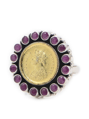 Purple Dual Tone Adjustable Silver Ring with Coin Design