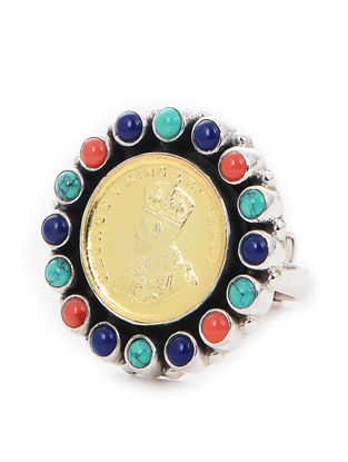 Turquoise and Coral Dual Tone Adjustable Silver Ring with Coin Design