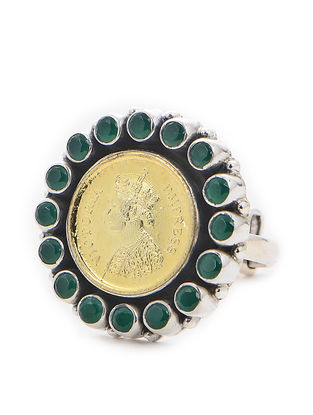 Green Dual Tone Adjustable Silver Ring with Coin Design