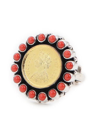 Coral Dual Tone Adjustable Silver Ring with Coin Design