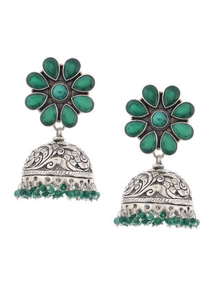 Green Tribal Silver Jhumkis with Floral Design