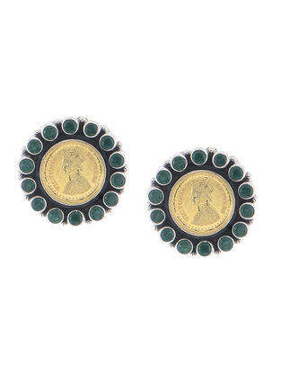 Green Dual Tone Silver Earrings with Coin Design