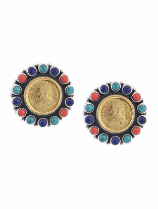Turquoise and Coral Dual Tone Silver Earrings with Coin Design