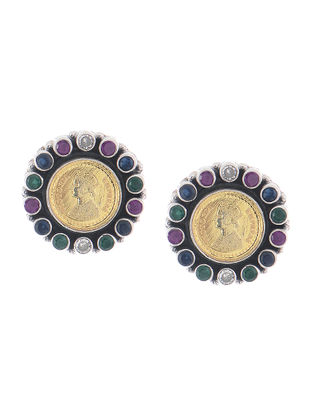 Purple-Green Dual Tone Silver Earrings with Coin Design