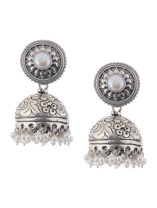 Pearl Silver Jhumkis with Floral Motif