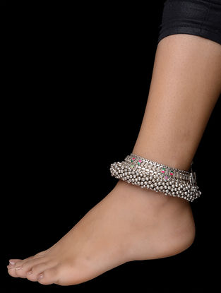 Purple-Green Tribal Silver Anklets (Set of 2)