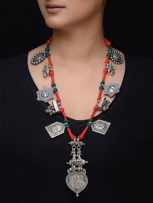 Red-Green Thread Tribal Silver Necklace