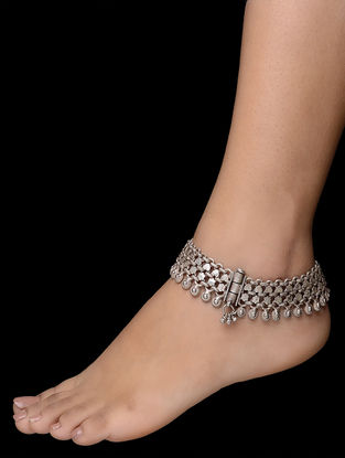 Hinged Opening Tribal Silver Anklets (Set of 2)