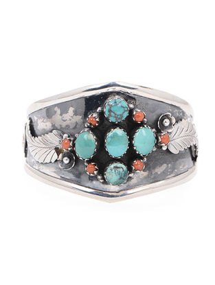 Coral and Turquoise Silver Cuff