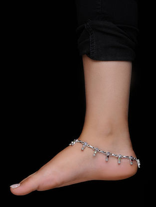 Multicolored Silver Anklets (Set of 2)