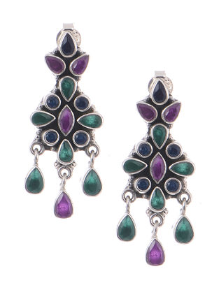 Purple-Green Silver Earrings