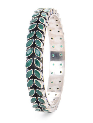 Green Silver Bangle (Bangle Size -2/2)