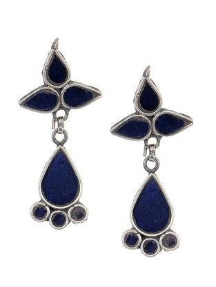 Blue Glass Silver Earrings