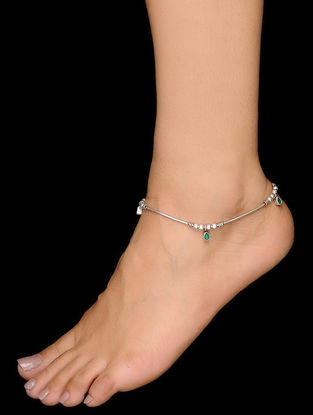 Green Silver Anklets (Set of 2)