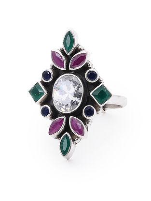 Purple-Green Adjustable Silver Ring