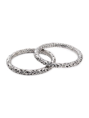 Tribal Silver Bangles with Floral Motif (Bangle Size -2/12)(Set of 2)