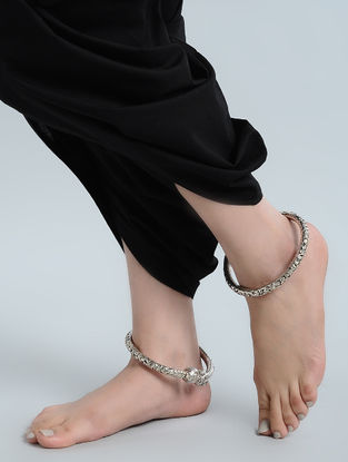 Tribal Silver Anklets with Floral Motif(Set of 2)