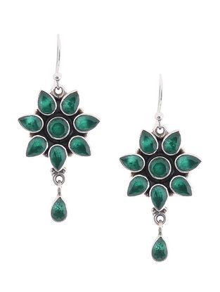 Green Silver Earrings