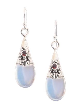 Red-Blue Silver Earrings