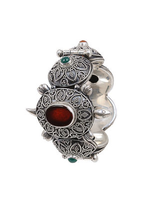 Red-Green Onyx Hinged Opening Silver Bangle (Bangle Size-2/6)
