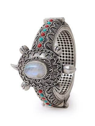 Coral-Turquoise Hinged Opening Silver Bangle (Bangle Size -2/6)