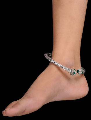 Green Silver Anklet