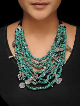 Turquoise Tribal Silver Necklace