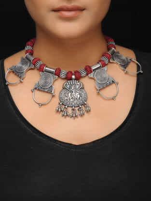 Tribal Silver Thread Necklace
