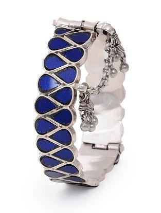Blue Glass Hinged Opening Tribal Silver Bangle (Bangle Size -2/12)