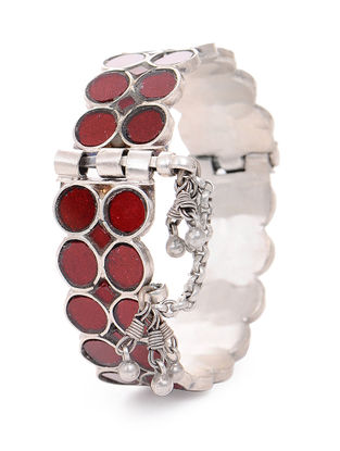 Red Glass Hinged Opening Tribal Silver Bangle (Bangle Size -2/12)