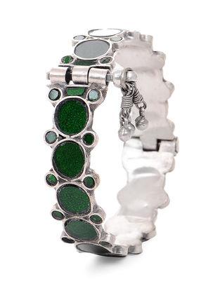 Green Glass Hinged Opening Tribal Silver Bangle (Bangle Size -2/12)