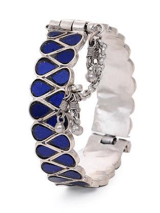 Blue Glass Hinged Opening Tribal Silver Bangle (Bangle Size -2/10)