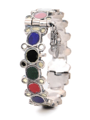Multicolored Glass Hinged Opening Tribal Silver Bangle (Bangle Size -2/14)