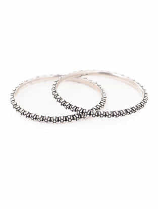 Tribal Silver Bangles with Floral Design (Bangle Size -2/4) (Set of 2)