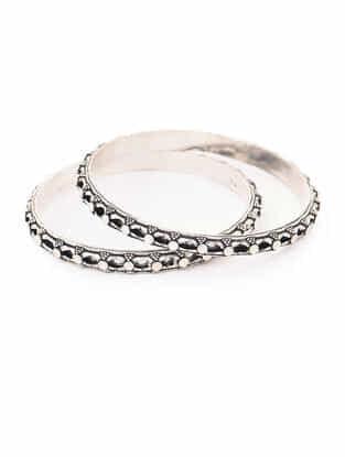 Tribal Silver Bangles (Bangle Size -2/6) (Set of 2)