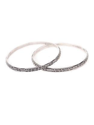 Tribal Silver Bangles (Bangle Size -2/10) (Set of 2)