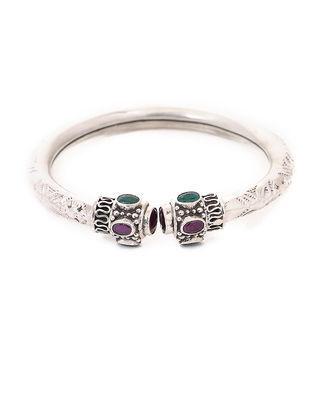 Purple- Green Tribal Silver Cuff