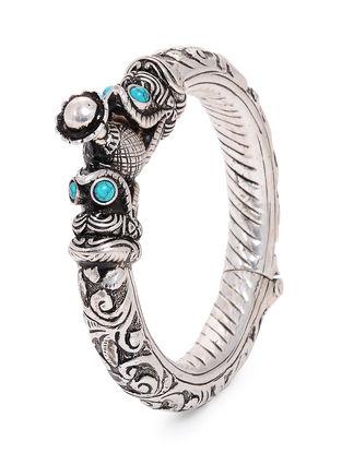 Blue Tribal Silver Bangle ( Bangle Size - 2/6)