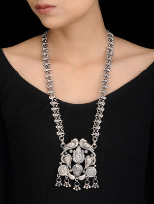 Tribal Silver Necklace with Lord Ganesha Design