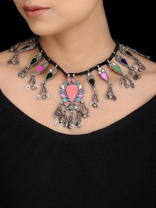 Multicolored Tribal Silver Thread Necklace