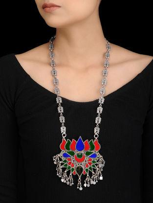 Multicolored Glass Tribal Silver Necklace