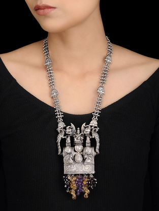 Citrine and Amethyst Tribal Silver Necklace with Deity Design