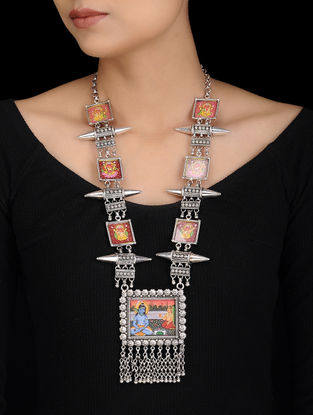 Tribal Silver Necklace with Hand-painted Deity Motif