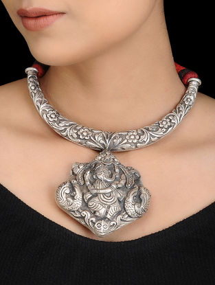 Tribal Silver Thread Necklace with Lord Ganesha Motif